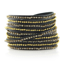 Beads Row & Crystal Wrap Bracelet in Black