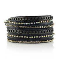 Mixed Metal Wrap Bracelet in Black