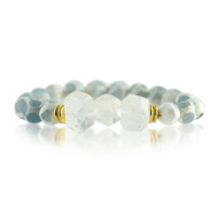 Gemstone Stretch Bracelet with Grey Quartz