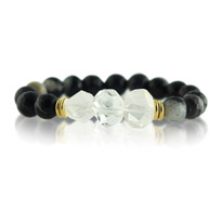 Gemstone Stretch Bracelet with Black Agate