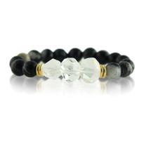 Gemstone Stretch Bracelet with Black Agate