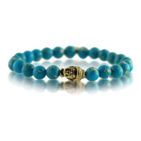 Gemstone & Buddha Stretch Bracelet with Turquoise