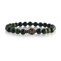 Gemstone & Buddha Stretch Bracelet with Green Quartz
