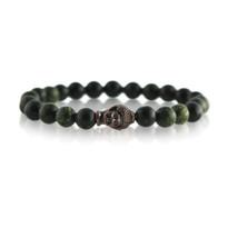 Gemstone & Buddha Stretch Bracelet with Green Quartz