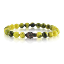 Gemstone & Buddha Stretch Bracelet with Yellow Dyed Quartz