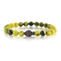 Gemstone & Buddha Stretch Bracelet with Yellow Dyed Quartz