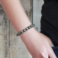 Gemstone Stretch Bracelet with Pyrite