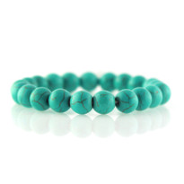 Gemstone Stretch Bracelet with Round Turquoise