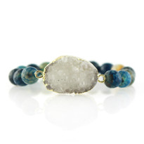 Gemstone & Druzy Stretch Bracelet with Teal Agate