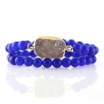 Gemstone & Druzy Stretch Bracelet set with Blue Agate