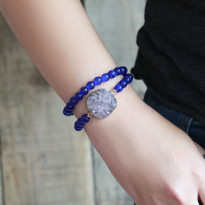 Gemstone & Druzy Stretch Bracelet set with Blue Agate