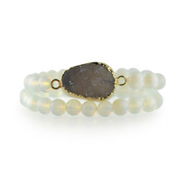 Gemstone & Druzy Stretch Bracelet set with Opalite