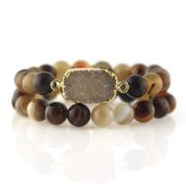 Gemstone & Druzy Stretch Bracelet set with Brown Agate