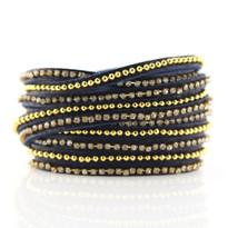 Beads Row & Crystal Wrap Bracelet In Denim