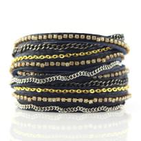 Mixed Media Wrap Bracelet in Denim