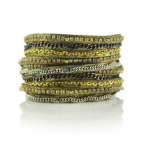 Mixed Media Wrap Bracelet in Olive Shimmer