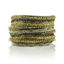Mixed Media Wrap Bracelet in Olive Shimmer