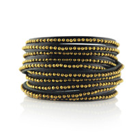Beads Row Wrap Bracelet in Black & Gold