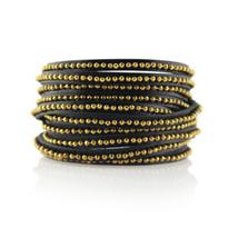 Beads Row Wrap Bracelet in Black & Gold