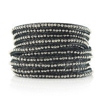 Beads Row Wrap Bracelet in Charcoal Shimmer
