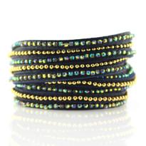 Beads Row & Black AB Crystal Wrap Bracelet In Denim