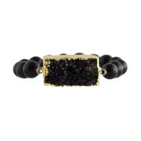 Gemstone & Druzy Stretch Bracelet With Black Agate