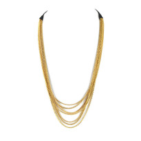 Tiered Chain Necklace In Black & Gold