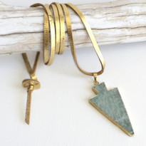 Turquoise Arrow Necklace in Gold