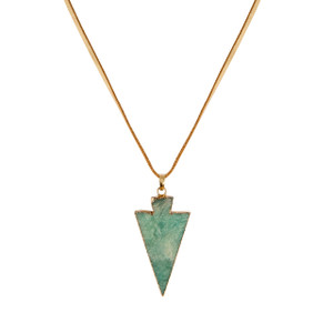 Amazonite Arrow Necklace in Gold