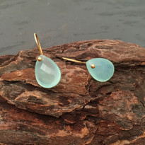 Drop Earrings in Aqua Chalcedony and Gold