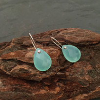 Drop Earrings in Aqua Chalcedony and Silver