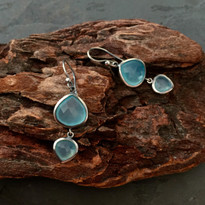 Kasbah Two-Tier Aqua Chalcedony Earrings