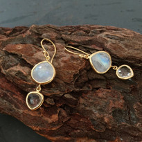 Kasbah Two-Tier Moonstone and Quartz Earrings
