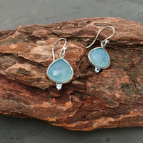 Kasbah Aqua Chalcedony Earrings in Silver