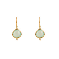 Kasbah Aqua Chalcedony Earrings in Gold
