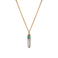 Druzy & Crystal Point Necklace in Gold