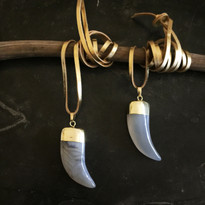 Gray Lace Horn Necklace on Leather