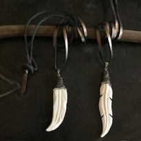 Meera Feather Necklace on Leather