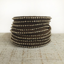 Beads Row Wrap Bracelet In Antique Brown