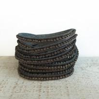 Beads Row Wrap Bracelet In Gunmetal