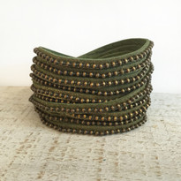 Beads Row Wrap Bracelet In Olive Shimmer