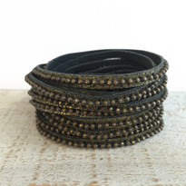 Beads Row Wrap Bracelet In Black Shimmer