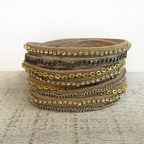 Mixed Media Wrap Bracelet In Gold Shimmer