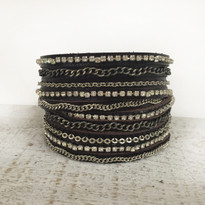 Mixed Media Wrap Bracelet In Chocolate