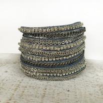 Mixed Media Wrap Bracelet In Grey Shimmer