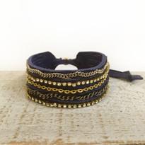 Mixed Media Adjustable Slide Bracelet In Denim
