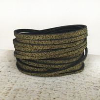 Sliced Wrap Bracelet in Black Shimmer, Size Large