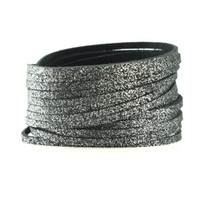 Sliced Wrap Bracelet In Charcoal Shimmer, Size Large
