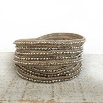 Beads Row Wrap Bracelet In Gold Shimmer, Size Large