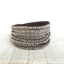 Beads Rows Wrap Bracelet In Brown Shimmer, Size Large